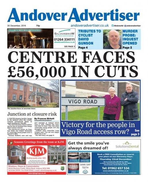 Andover Advertiser cover story