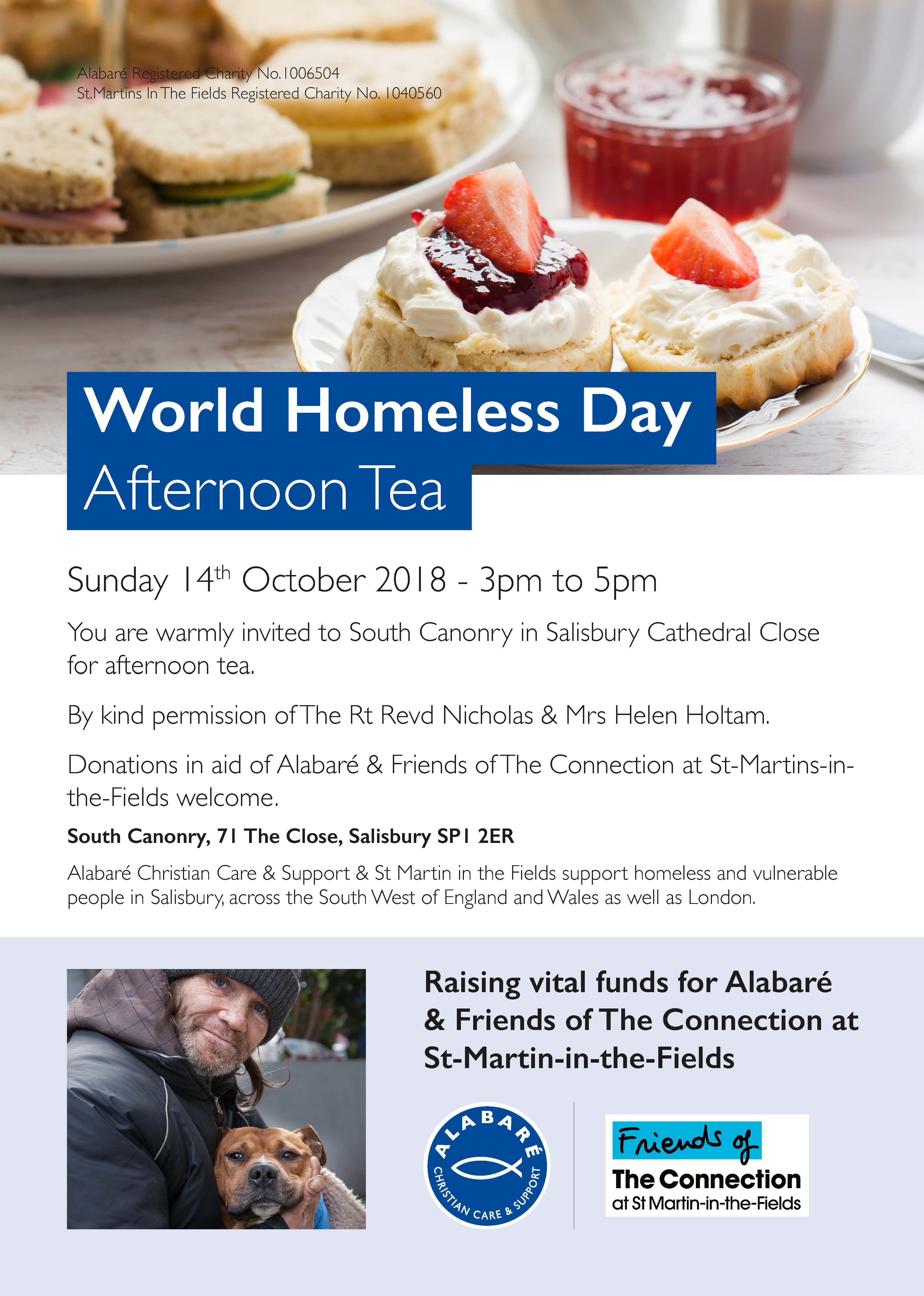 World Homeless Day Afternoon Tea Poster
